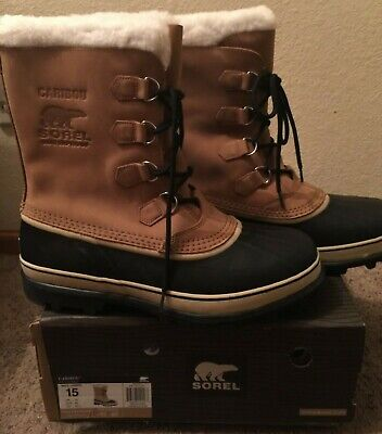NIB SOREL Men's Caribou Sherpa Lined Leather Boot ~ Buff Color ~ Size 15 ~ $160