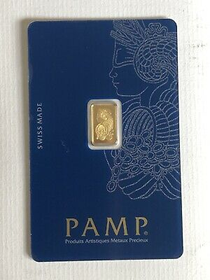 1 Gram PAMP SUISSE Gold Bar Lady Fortuna Assay Certified 999.9 Sealed