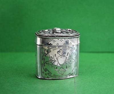 Antique Dutch Silver Loderein box VN 63 filigree covered  833 silver 1868