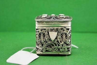 Antique Dutch Silver Loderein box filigree covered  833 silver 1863 4.2 x 3.3 cm