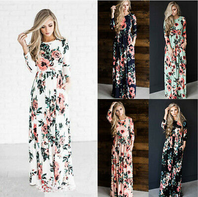Women Fashion Long Sleeve Round Neck Floral Printed Casual Beach Maxi Dress New
