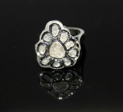 925 Sterling Silver Rose Cut Victorian Style Diamond Natural Tourmaline Ring Diamond
