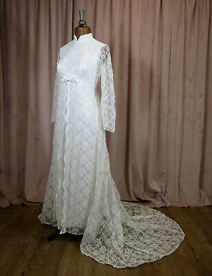 Vintage 50s 60s Wedding Dress Retro Classy Elegant Lace Train Maxi Long UK 10/12