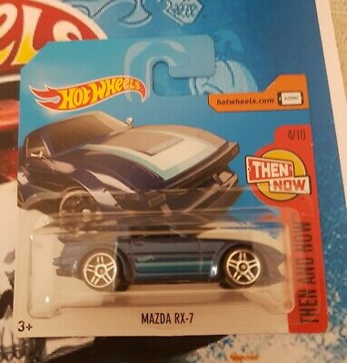Hot wheels MAZDA RX-7 blue then and now 4/10