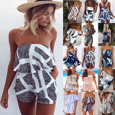 Womens Summer Boho Playsuit Mini Jumpsuit Holiday Beach Strappy Sundress Shorts