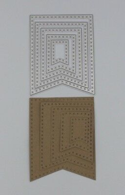 Stitched Bunting Flag Metal Cutting Dies x 5 New Cardmaking Memory Book Making