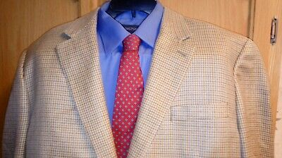 Ralph Lauren mens tan houndstooth blazer sport coat jacket silk 2 button 44r