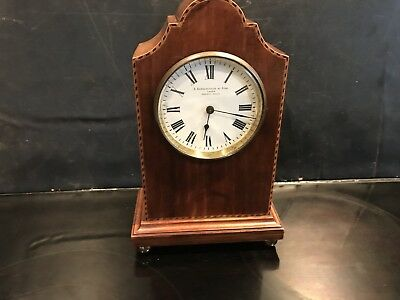 Edwardian Mahogany With Inlays Mantle Clock