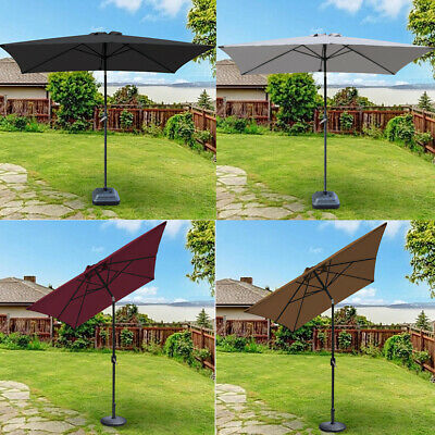 Patio Garden Parasol Sun Umbrella Rectangular 2x3M with 12KG Parasol Base Weight