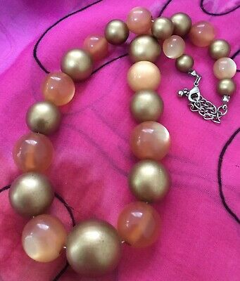 Vintage Antique Acrylic Gold Orange Cats Eye Big Beaded Strand Necklace Estate