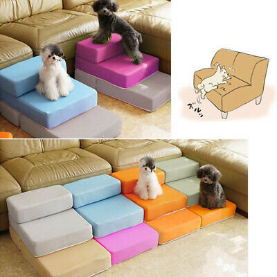 Folding Dog Cat Pet Stairs Puppy Cushion Indoor Sofa Bed Ramp Two Layers