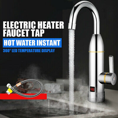360° Instant Electric Faucets Tap Hot Water Heater LED Display Bathroom Kitchen
