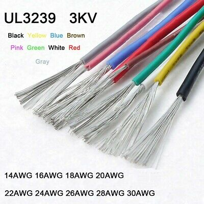 UL3239 Flexible Silicone Cable Wire 14AWG - 30AWG Tinned Copper 9-Colors 3KV