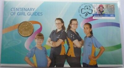 $1 Coin  Centenary Of Girl Guides Coin and Stamp uncPNC