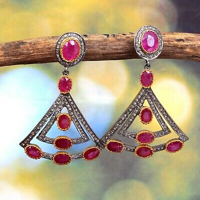 Rose cut Diamond Real Red Ruby Victorian 925 Sterling Silver Gift Dangle Earring