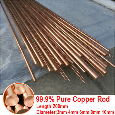 Pure Copper Rod Round Bar T2 99.9% Red Metal Dia 3mm 4 6 8 10mm Length 200mm