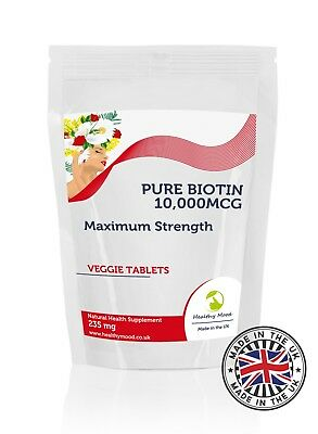 Biotin 10,000mcg B7 235mg 7-30-60-90-120-180-250-500-1000 Tablets UK