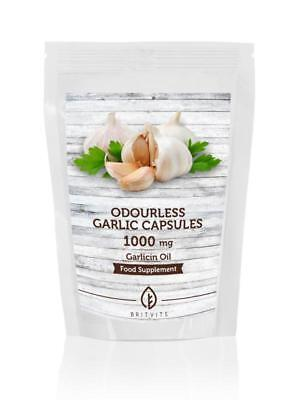 Odourless Garlic 1000mg Oil 30-60-90-120-180-250-500-1000 Capsules
