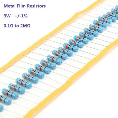 3W +/-1% Metal Film Resistors - 129 Values from 0.1Ω to 2MΩ - Various Pack Sizes