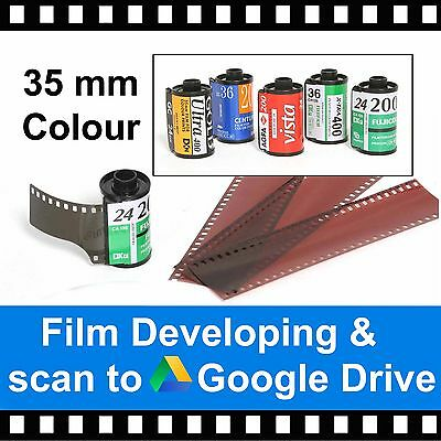 35mm Colour Film Developing & Scanned to Google Drive - 4.5mb Per Photo