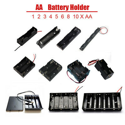 Various Battery Holder Case Box 1//2//3//4//5//6//8//10 x AA With Switch//DC Plug//Wire