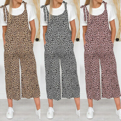 Women Tie-Up Strap Leopard Print Baggy Culottes Long Jumpsuit Plus Size Overalls