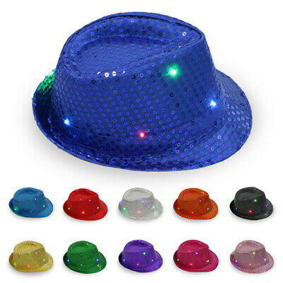 Unisex Fedora Trilby Sequin Mens Ladies Gangster Glitter Top Hat Fancy Dress UK