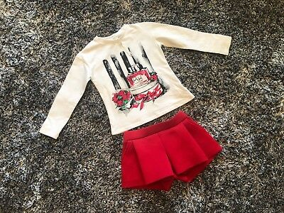 Fun & Fun Girls White & Red Outfit - 6 Years Top  5 Years Shorts