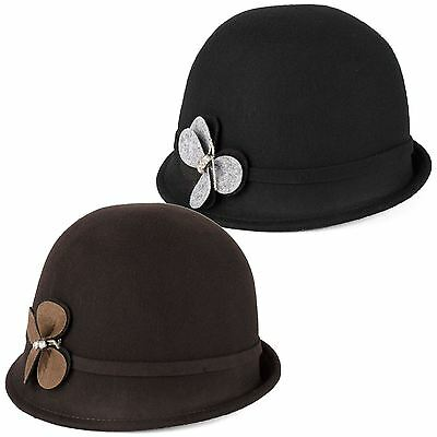 100% Wool Cloche Hat with Felt Belt and Butterfly Motif Handmade in Italy