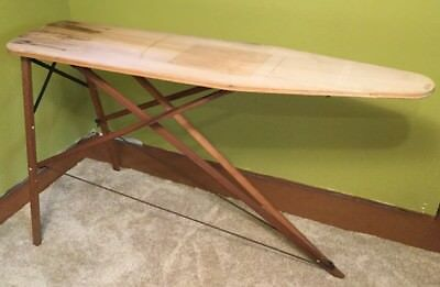 Vtg Farmhouse Primitive Folding Wooden Ironing Board Party Cocktail Table