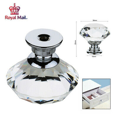 12 Clear Crystal Diamond Glass Knob Cupboard Drawer Furniture Handle Cabinet New