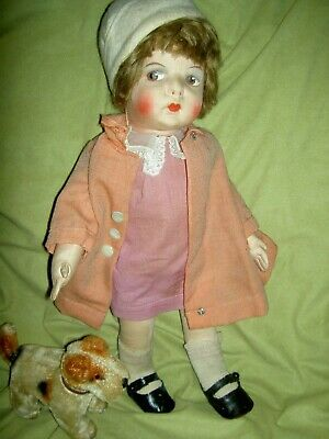 Wonderful c1930 French GRE-POIR jointed cloth doll all orig. organdy outfit