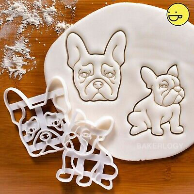 Set of 2 French Bulldog cookie cutters | frenchie dog treats adoption rescue vet