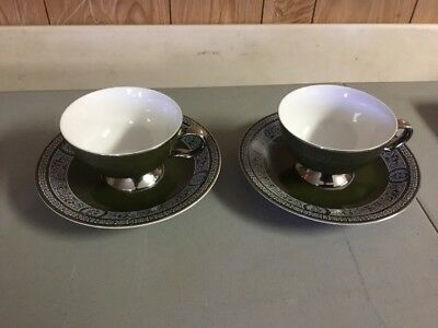 Lot Of 4 Pieces Cup And Saucer Forest Damask green and white