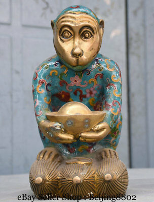 "9"" China Bronze Cloisonne Carved Animal Wealth Yuanbao monkey On corn Statue"