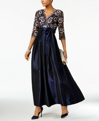 60ab554e6aa  189 Jessica Howard Women s Blue V-Neck Floral Lace Belted Formal Dress Size  16