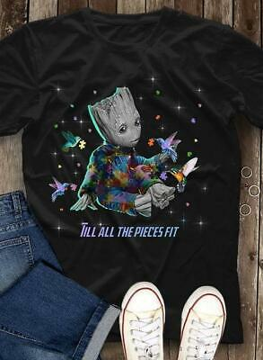 Autism Baby Groot Till All The Pieces Fit Men T-Shirt Cotton Black S-6XL