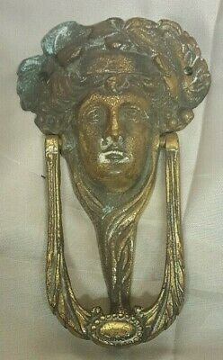 "Vintage Art Nouveau Ladies Head Brass Face Door Knocker 5"" High"