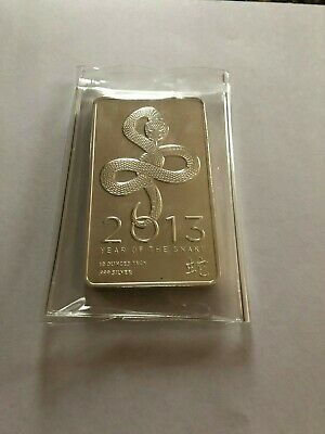 10 oz Ounce Pure .999 Silver Bar 2013 Year of the Snake- Sealed