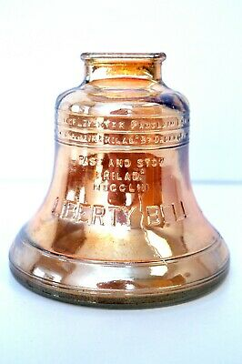 Antique Glass Liberty Bell Coin Bank Carnival Glass Color/Amberish (MINT)