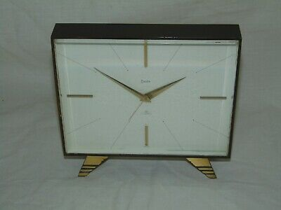 Stylish Working Vintage Brass Case Swiss Swiza 8 Day Mantle Alarm Clock 7 Jewels