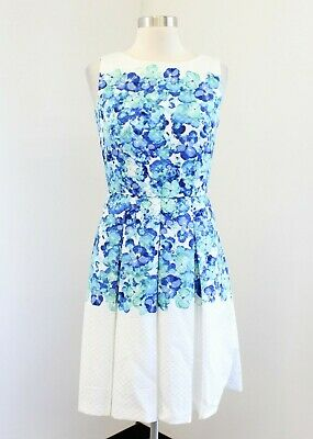 73b55daa31cb7 Tahari ASL Levine White Blue Watercolor Floral Pleated Fit and Flare Dress  Sz 2