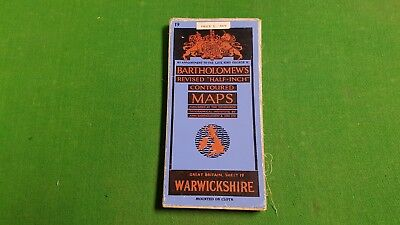 Sheet 19 Warwickshire Bartholomews Revised Half Inch Contoured Map, Cloth