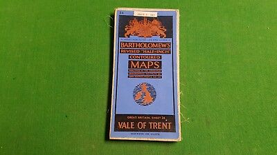 Sheet 24 Vale of Trent Bartholomews Revised Half Inch Contoured Map, Cloth