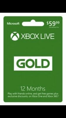 Miscrosoft Xbox Live Gold 12 Month Subscription Code Instant Delivery