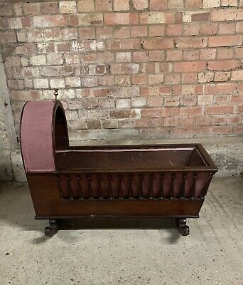 Lovely Early 19thC Mahogany Rocking Crib / Cradle With Spindle Sides