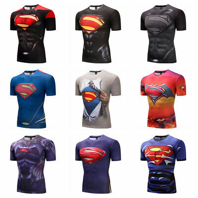 61e5bfe4bb4d7 Men Sport Compression T-shirt Marvel Superhero Short Sleeve Tights Cycling  Gym