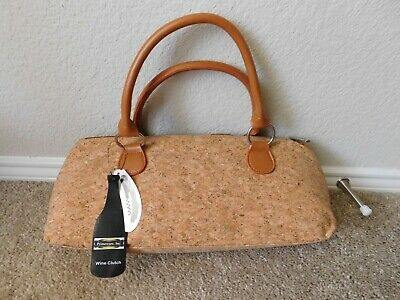 Brand new Primeware, Inc. Cork color Wine Clutch with corkscrew included