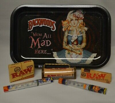 Alice We're All Mad Here Rolling Tray Bundle Raw Roller Paper Tips & 2 Doob Tube