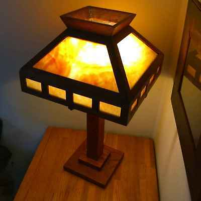 Prairie School Oak- Slag Glass Mission / Arts & Crafts Table Lamp Stickley Era